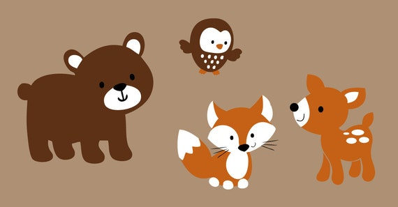 woodland friends animals vinyl wall decal by wildgreenrose on etsy. Black Bedroom Furniture Sets. Home Design Ideas