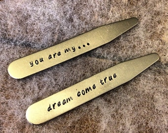 Custom Collar Stays - You are my dream come true - Anniversary Gift for Men / Groom's Gift / Husband Gift / Boyfriend Gift