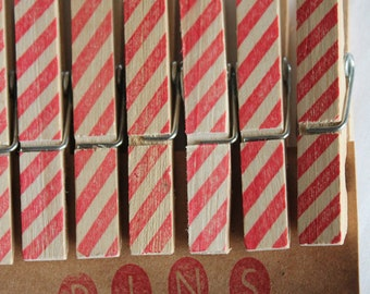 Candy Cane Striped Clothespins - Set of 10 Handstamped Clothes Pins