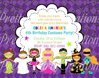 HALLOWEEN Costume Kids party invitation - YOU PRINT - 3 to choose