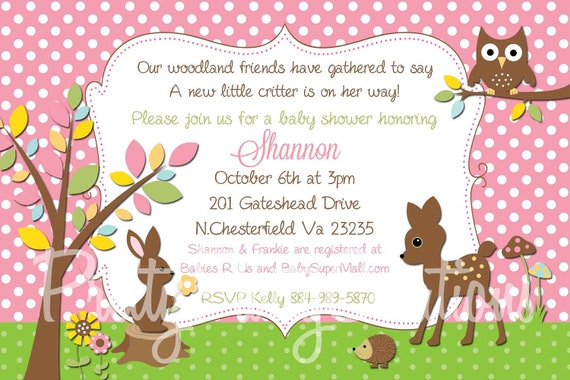 PINK WOODLAND invitation - baby shower or first birthday You PRINT - treasury featured