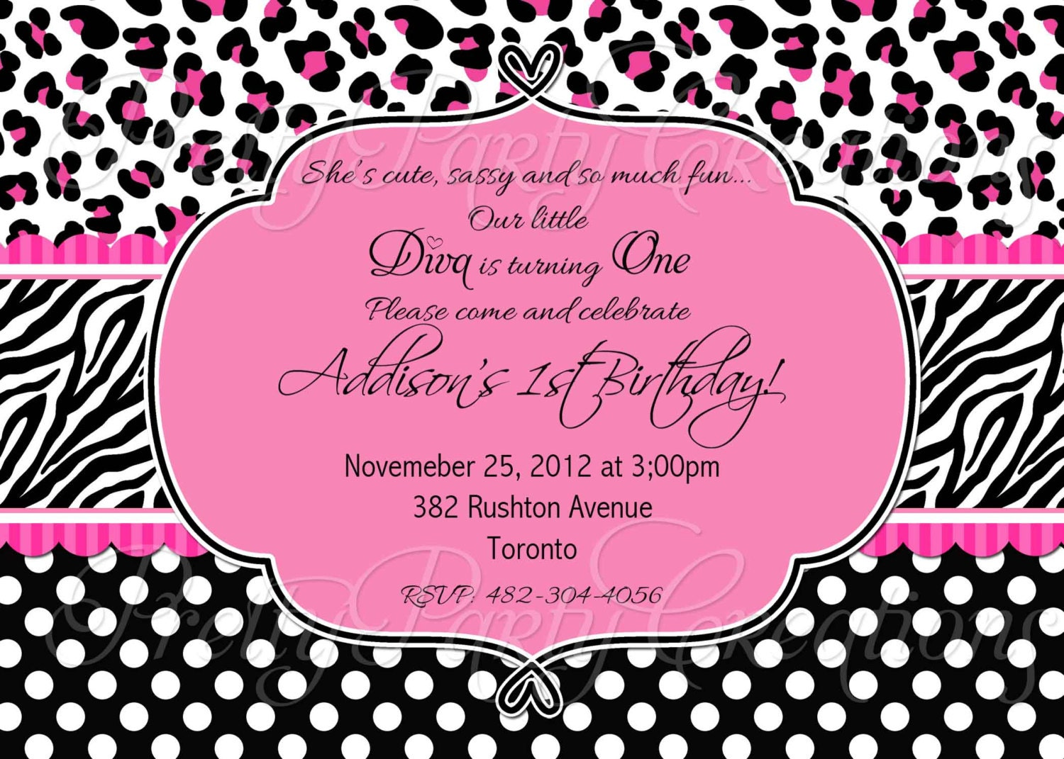 Request a custom order and have something made just for you Pink Animal Print Invitations