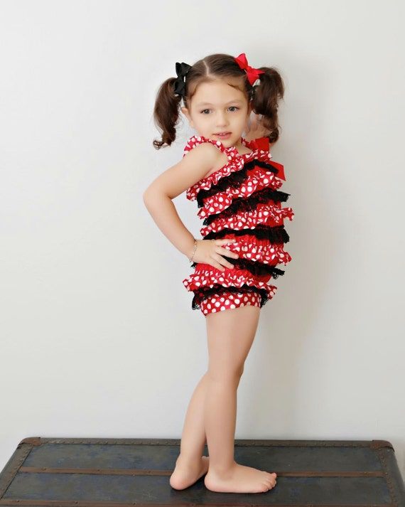 Polka Dot Baby Satin Romper, MInnie Mouse Baby Romper, BIrthday Outfit -0months-6t sizes available - costume