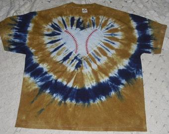 "Tie dye 3X Unisex tee- ""I heart Baseball"" in vegas gold and navy"