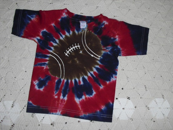 Tie dye shirt, 3 Toddler, navy and red football