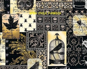 Fabric 1FQ NEVERMORE EDGAR Collage Script Birds Goth DC5522-Blk Gothic Steampunk Halloween Skulls Raven Owls London Portfolio  M Miller