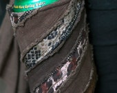 Brown Patchwork Beer Cozy with Clip and Animal Print FREE SHIPPING