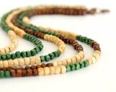 Multi Strand Wood Necklace Green Brown Cream OOAK Earthy Tones Nature Forest.
