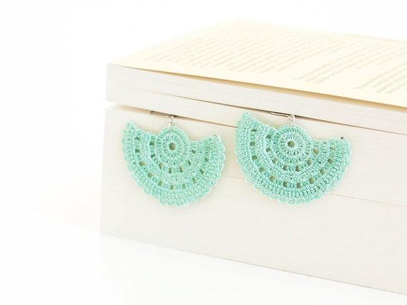 Crocheted Dangle Earrings Mint OOAK Varnished Hippie Boho Semicircle Hittites Twin Idol Goddess