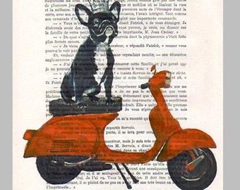 Original Illustration Digital Print Mixed Media  Art Poster Acrylic Painting Holiday Decor Drawing Gifts: Bulldog on a Vespa