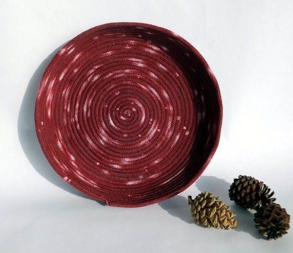Hand dyed Coiled Rope Basket - Burgundy Red