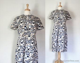 60s Geometric Print Sheath Dress