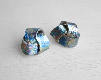 Knot earrings in multicolored rainbow metallic genuine leather swirls