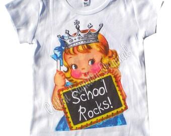 Back to school tank tshirt one piece School Rocks t-shirt.