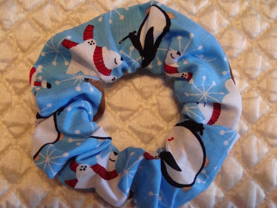 Blue Penguin and Polar Bear Christmas Fabric Hair Tie Scrunchie