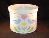 Large White Blue Birds Heart Kitchen Utensil Holder Crock Ceramic Pottery Ohio USA
