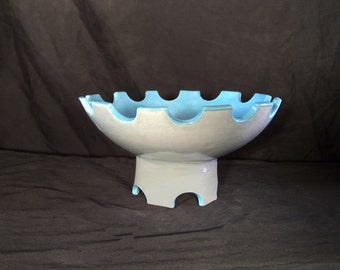 Grey and Blue Scalloped Pedestal Display Bowl Ceramic Pottery Made in OHIO USA