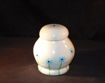 Small White Blue Flower Lidded Ginger Jar Ceramic Pottery Made In OHIO USA