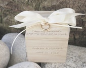 Wedding Ring Box Ring Bearer Block I am my beloved's, personalized with names on front, Rustic Wedding NAS