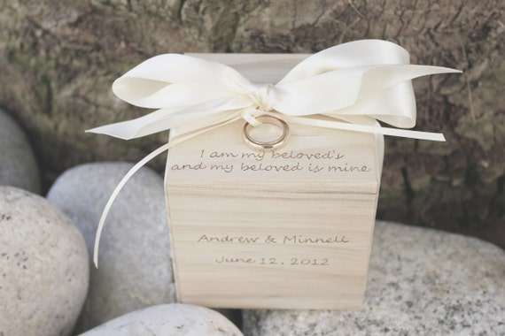wedding ring box ring bearer block i am my by naturallyaspen. Black Bedroom Furniture Sets. Home Design Ideas