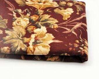 Vintage Floral Fabric - Burgundy - Raymond Waites - Cotton