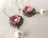 Vintage Style Metal Flower Filigree Earrings with Pearls
