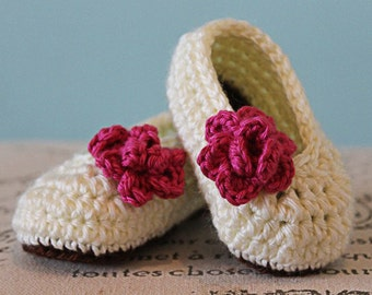 CROCHET PATTERN PDF - Crochet Baby Girl Booties with Rose Flower - Rose Booties - Instant Download
