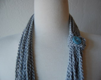 Crochet Scarf Buttoned Up Chains in silver wool blend