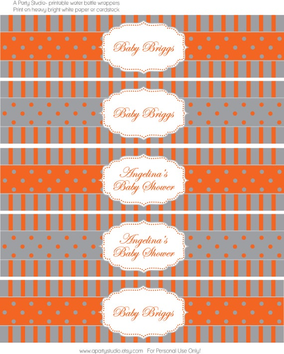 Pumpkin Orange and Grey Water Bottle Wrappers- print your own