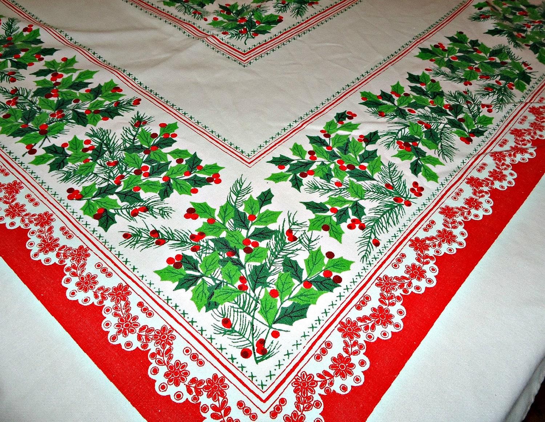 Vintage Christmas Tablecloth Long Christmas Table Cloth