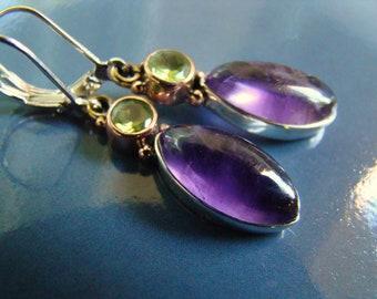 Sale Purple Amethyst Peridot Silver Earrings