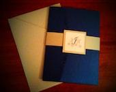 Silver and Blue Snowflake Pocket Fold Metallic Wedding Invitations