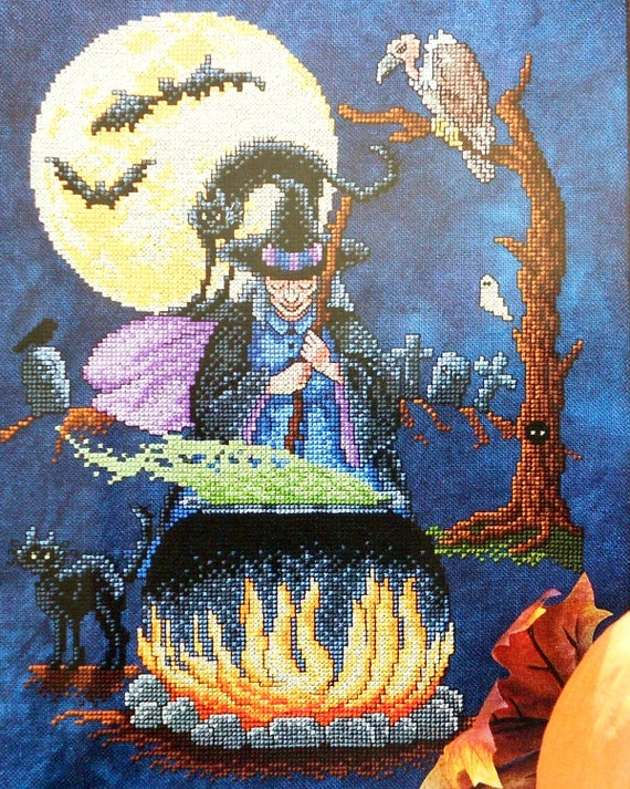Exquisite Sharon Pope WITCH'S BREW with Couldron Halloween Design - Counted Cross Stitch Pattern Chart