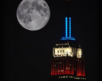 Blue Moon over the Empire State Building Fine Art Print, New York, NYC, City, Urban, Space, Tranquility