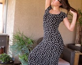 1990s does 60s DRESS black & white Floral Maxi BodyCon babydoll  // S / M