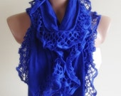 saxe blue crimp scarf stylish scarf shawl gift for her christmas gift bridal