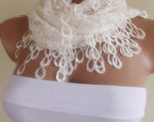 ivory lace scarf with lace edge stylish scarf shawl gift for her christmas gift bridal