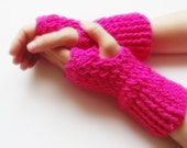 ready to ship Hand Crochet Fingerless Gloves mittens hot pink fusia christmas gift for her