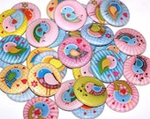 "Sweet Happy Love Birds Set of 10 Buttons 1"" Pinback Buttons or 1"" Magnets"