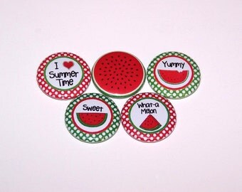 """Sweet Summer Time Watermelon Set of 5 Buttons 1 Inch Pin Back Buttons 1"""" Pins or Magnets"""