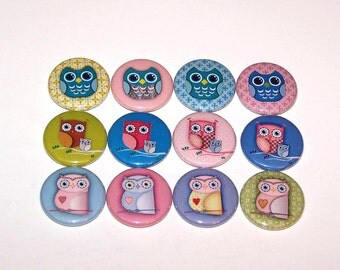 """Cute Little Hoot Owls 1 Inch Pin Back Buttons 1"""" Pins or Magnets"""