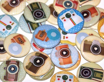 "Vintage Retro Camera Set of 10 Buttons 1 Inch Pinback Buttons 1"" Pins or Magnets"