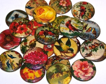 "Vintage Victorian Floral and Birds Set of 10 Buttons Party Favors 1 Inch Pin Back Buttons 1"" Pins or Magnets"
