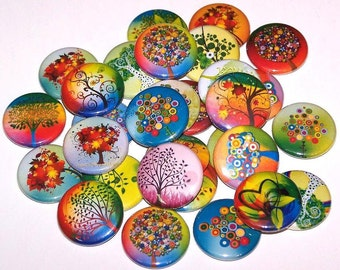 "Colorful Whimsical Fantasy Trees Set of 10 Buttons 1"" Pins or Magnets"