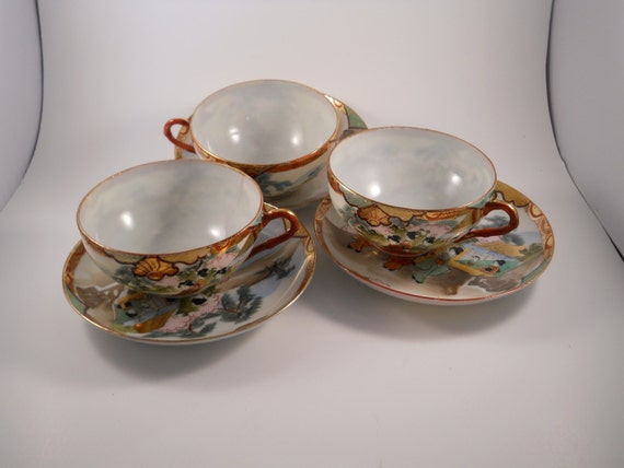 Three Sets China  Vintage1940s Asian Teacups and Saucers