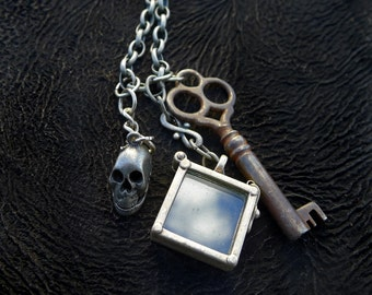 Steampunk Necklace Vintage Skeleton Key Square Glass Locket and Skull Charm on Antiqued Silver Tone Chain 167