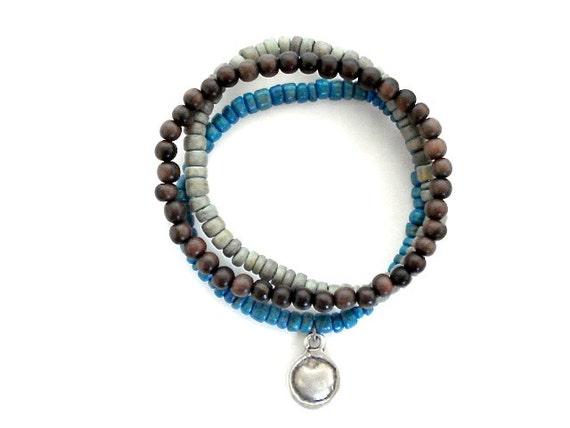 Mala Bead Bracelet Set, Mala Beads, Coco Beads, Silver Charm Beaded Bracelets