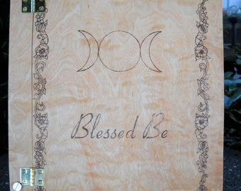 Blessed be wood burned Book of Shadows with floral border