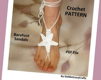 Barefoot Sandals Crochet PATTERN, Sea Star, Bridal, Summer, Beach Wedding, Yoga