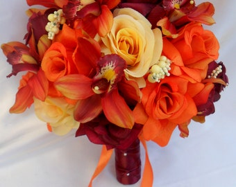 "17 Piece Package Wedding Bridal Bride Maid Bridesmaid Bouquet Boutonniere Silk Flower ORANGE BURGUNDY YELLOW Fall ""Lily of Angeles"" ORYE03"